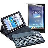 メディアカバーマーケット ASUS ASUS Fonepad 7 LTE ME372-GY16LTE【7インチ(1280x800)】機種用 【Bluetoothワイヤレスキーボード付き タブレットケース と ブルーライトカット液晶保護フィルム のセット】