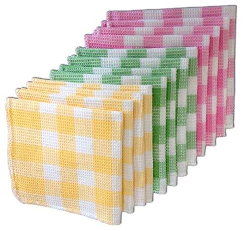 ハチス織り 綿ふきん 3色(12枚入)