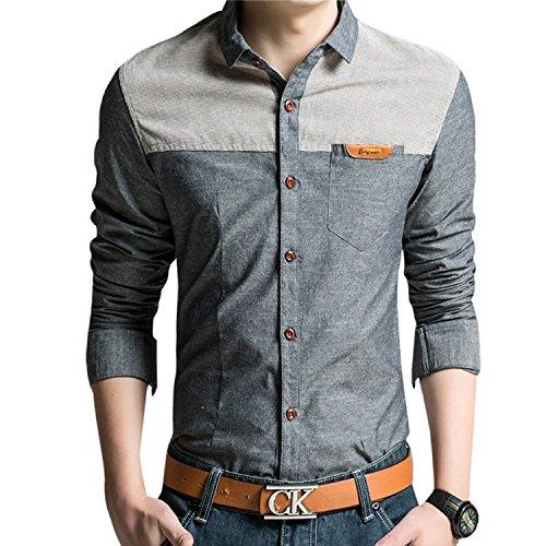 SHUOSENメンズカジュアルシャツ ポケット付き 異素材 切替 デザインデニム シャツ 長袖 メンズ 着回し カジュアル オシャレ 大きい サイズ通勤