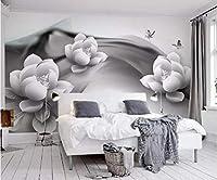 Minyose 壁のための注文3D壁画壁紙の白黒インク蓮蝶ホテルのカフェの背景3Dの壁紙-450cmx300cm