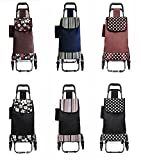 介護 福祉 歩行車 シルバーカー 買い物 お出掛け 用具 外出 歩行器 高齢者 ご年配 椅子付き 折り畳み ショッピングカート (水玉黒色)