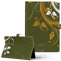 igcase d-01h Huawei ファーウェイ dtab ディータブ タブレット 手帳型 タブレットケース タブレットカバー カバー レザー ケース 手帳タイプ フリップ ダイアリー 二つ折り 直接貼り付けタイプ 007543 クール 植物 緑 グリーン