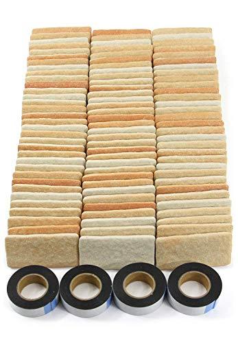 RoomClip商品情報 - MB-1ライトブラウン 軽量レンガかるかるブリック Sサイズ(ミニサイズ)100枚入 屋内用両面テープ付