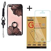 TaoTech iPhone8plus 7Plus リング ケース 落下防止 ネックストラップ 付き タンド機能 ストラップホール 付き レース スマホ カバー (iPhone7plus/8plus, ブラック/ハナ+ガラスフィルム)