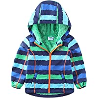 umkaumka Warm Windbreaker Jacket Kids Fleece Lined Hoodie 2-7T