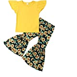 2PCS Toddler Kids Baby Girl Fashion Blogger T-Shirt Tops+Sunflower Flare Pants Clothes