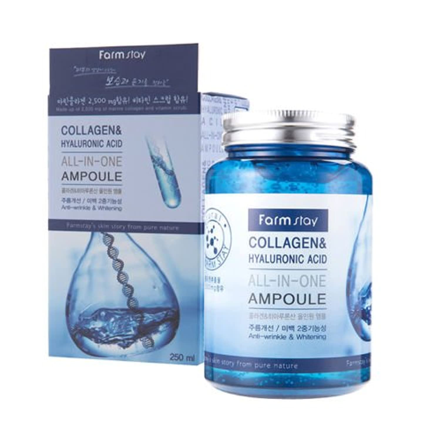 スリラーセッティング貢献するFarm Stay Collagen & Hyaluronic Acid All In One Ampoule 250ml/Korea Cosmetic [並行輸入品]