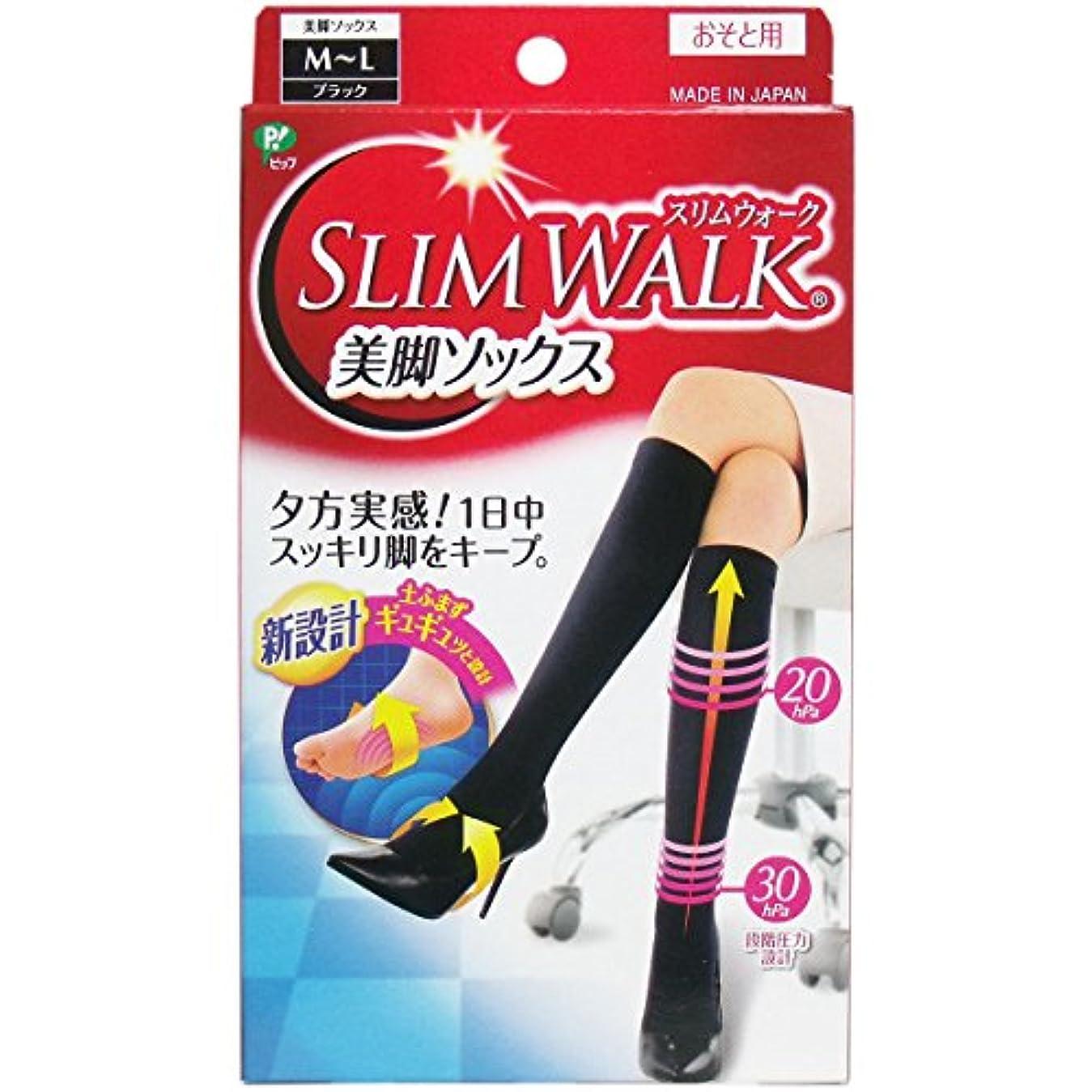 狼バターを通して【セット品】スリムウォーク 美脚ソックス M-Lサイズ ブラック(SLIM WALK,socks,ML) ×2個