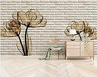 Mbwlkj 壁紙ファッションチューリップ3DブリックテレビWallparaクオルト壁紙用壁3 D張り子ペント壁紙-300cmx210cm