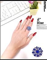 FLG-01 キラキラ上品なフリーサイズラインストーンリング 9色 (6# 青色)