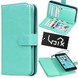 Urvoix 財布+iPhoneケース iphone 6 Plusおよび6S Plus用 革製 手帳型 ホルダー 取り外しが可能なマグネット式バックカバー (iPhone 6や6Sはサイズが合いません) …(緑)