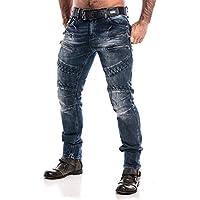 Cipo & Baxx Moto Biker Destroyed Fancy Men's Clubbing Style Jeans Blue Premium Quality CD382