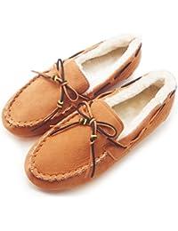 (Island Puppy) ボア モカシン ムートン レディース シューズ バイカラー デザイン シューレース 秋 冬 靴