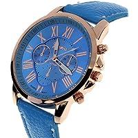 Lookatool Lady Women's Roman Numerals Faux Leather Analog Quartz Women Wrist Watch (Blue)