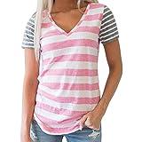 レディース ブラウス (Large, Pink) - Womens Teen Girls T Shirt Patchwork Striped Short Sleeve V Neck Funny Casual T Shirts Tops Blouse Fashion Tee for Women Teens on Sale Clearance