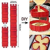 bestomz 4pcs DIYケーキ金型テフロン加工のシリコンベイクBaking柔軟なシリコンケーキMaking形状DIYデザート用レッド