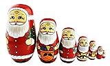 かわいい サンタクロースがいろんなギフトを持ってくるパターン マトリョーシカ マトリョーシカ人形 手作り 木製品 7個組 クリスマス プレゼント 贈り物 子供のおもちゃ 飾り物 置物