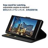 Sony Xperia XZ/XZsケース, Simpeak PU レザーケース 手帳型 二つ折り横置きスタンド機能付き カード収納 マグネット開閉式スマホケース 黒色 SO-01J/SOV34/601SO/F8332 対応