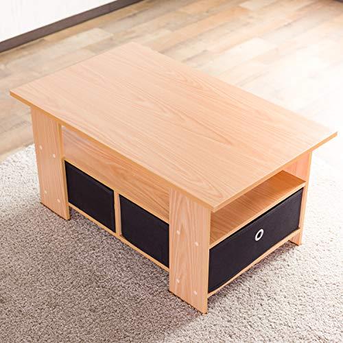 【お得な収納ケース2個付き】 使いやすい収納センターテーブル(80×48cm) すっきり片付く収納テーブル 中下段で3分割 木製ローテーブル 訳有り (ナチュラル色)