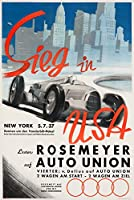 Sieg in USA – Rosemeyer auf Auto Unionヴィンテージポスター(アーティスト: Mundorff )ドイツC。1937 16 x 24 Signed Art Print LANT-58960-709