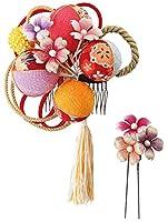 和ごころきもの屋 全3色 ちりめん髪飾り【2本セット】 日本製 手作り 花飾り つまみ細工 ヘアアクセサリー kanzasi348 (ピンク×赤)
