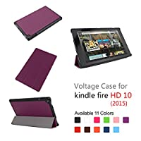 Fire HD 10 2015 ケースオートウェイクスリープ、磁気閉鎖超軽量マルチアングルスタンドタブレットケース 3折り目カスターpuレザーケース for Amazon Fire HD 10 10.1-inch(2015 Released) (パープル)