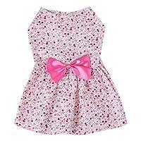QLMS 犬の服夏のドレステディプリンセス薄いセクション通気性の弓花柄のドレスの綿のかわいいドレス (Color : Pink, Size : S)