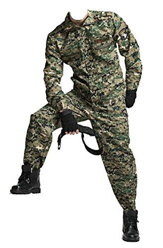 サバイバルゲーム 特殊部隊 戦闘服 迷彩服 タクティカル サバゲー ミリタリー 上下セット (モザイク迷彩(グリーン), XL 185)