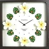 ハワイアン雑貨/インテリア/ハワイ雑貨  ハワイアン クロック プルメリア&モンステラ時計(ホワイト/イエロー)