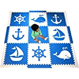 [SoftTiles]SoftTiles Nautical Ocean Theme Kids Interlocking Foam Playmat With Sloped Edge Pieces Large 2' Floor Tiles [並行輸入品]