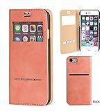 iPhone7 ケース 手帳型 窓付き カバー ストラップホール カード収納 COSMO FLIP / ピンク