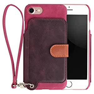 <iPhone 7用> RAKUNI (ラクニ) 本革 背面ポケット型ケース(ラズベリー)前面むきだし/ストラップ付き/スタンド機能/財布がわりに(ピンク&濃紫)