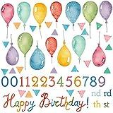 誕生日☆シール式ウォールステッカー 誕生日 birthday 飾り 90×90cm ケーキ ガーランド バースデーパーティ飾り 風船 バルーン 壁紙 お祝い 風船 数字 カラフル 016999