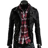 メンズ ファッション AMBLY ライダースジャケット メンズ ミリタリー ブルゾン アウター ジップアップ コーデ バイクウェア 春 夏 秋 メンズファッション (ブラックL)