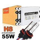 Engync HID AC 55w H8 交換用キット Hi/Low 10000K極輝型セラミックコアバルブ プレミアム薄型バラスト プロ推奨 高速点灯 3年保証