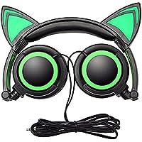 猫耳ヘッドフォン、Auker Cute Glowing点滅cat-ear HDステレオノイズキャンセルヘッドセットover the ear with LEDフラッシュライトfor iPhone 7/ 7+ / 6s / 6+ / 5s-se / 5C / 4s、SAMSUNG、タブレット& Android Phones