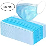 500 Pack Disposable Face Masks with Elastic Ear Loop 3 Layers for Blocking Dust Air Pollution Flu Protection Germ Allergy