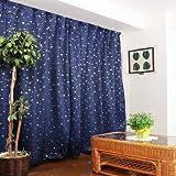 1級遮光カーテン プラネット ネイビーブルー 幅100cm×丈178cm 2枚入 全2色8サイズ