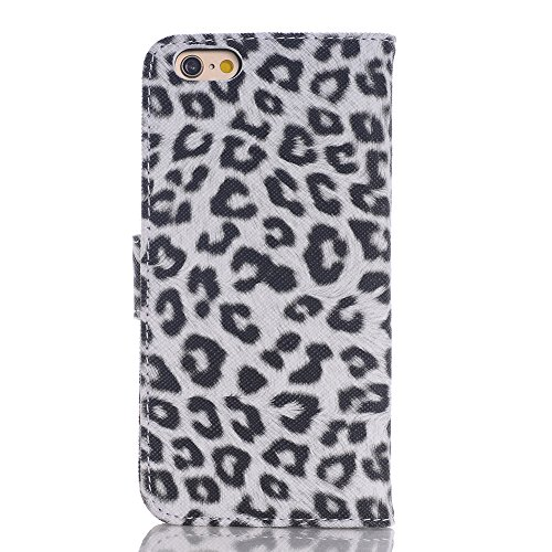 iPhone6 ケース 4.7インチ アイフォン6 カバー 革 手帳型 iphone6-416 (ホワイト) スマホケース スマホカバー 横開き レザー Teddy®ブランド 携帯電話ケース 携帯カバー アイホンケース アイホン6ケース アイフォーン6 アイフォン6 iPhone6 スタンド 豹柄ヒョウ柄 アニマル系