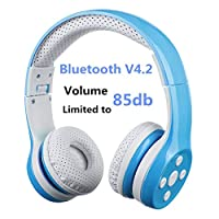 キッズブルートゥースヘッドホン、Hisonicポータブルヘッドフォンキッズワイヤレスヘッドフォン(85dB音量制限付き聴覚保護&音楽共有機能付き、男の子女の子用)(ブルー)