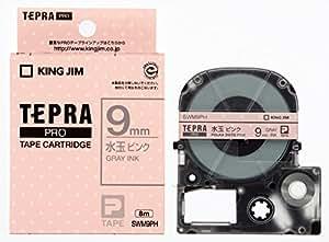 キングジム テープカートリッジ テプラPRO  SWM9PH 水玉ピンク/グレー文字