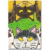 猫の足あと ポストカード 「肉球みせあっこ」