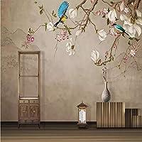 Mingld カスタム写真の壁紙3D花鳥手描きのモクレンの花の壁画リビングルーム寝具室研究室の3D背景壁-150X120Cm