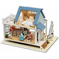 DIYウッドドールハウス手作りミニチュアキット - LEDビーチビラモデル&家具/オルゴール