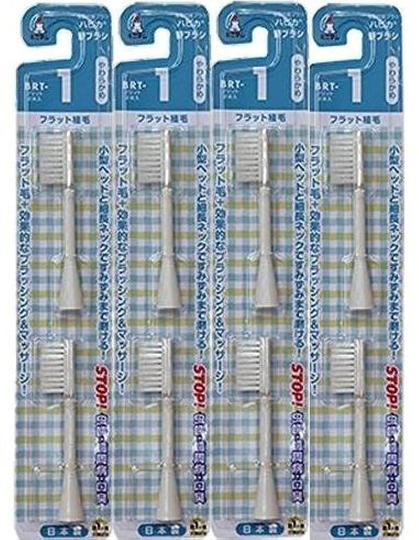 後方に半径郵便物電動歯ブラシ ハピカ専用替ブラシやわらかめフラット植毛2本入(BRT-1T)×4個セット