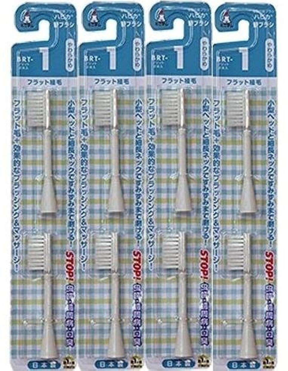 マスタード伝記宿題電動歯ブラシ ハピカ専用替ブラシやわらかめフラット植毛2本入(BRT-1T)×4個セット