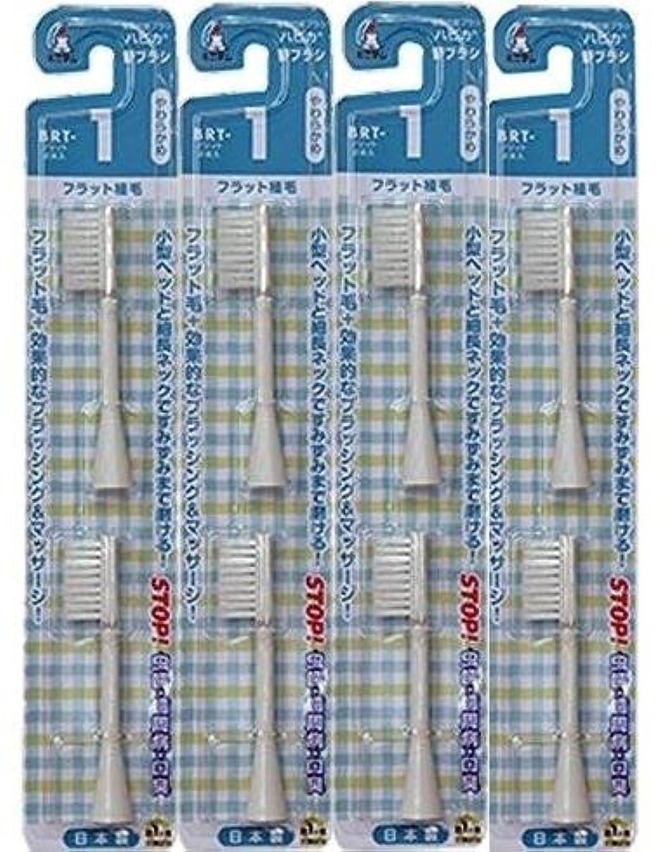 眩惑するストライク増強電動歯ブラシ ハピカ専用替ブラシやわらかめフラット植毛2本入(BRT-1T)×4個セット