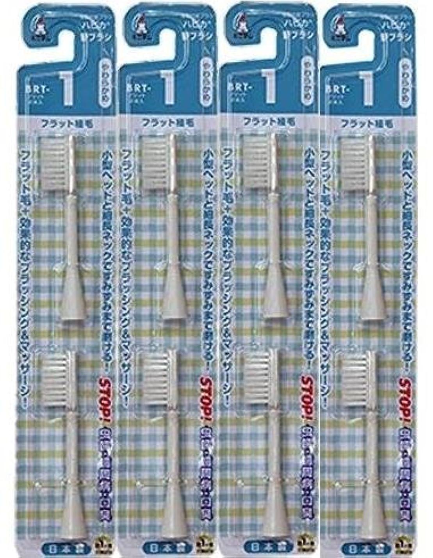 つらいきらめくストレスの多い電動歯ブラシ ハピカ専用替ブラシやわらかめフラット植毛2本入(BRT-1T)×4個セット