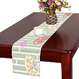 LKCDNG テーブルランナー カラフル きれい 和風の扇子 クロス 食卓カバー 麻綿製 欧米 おしゃれ 16 Inch X 72 Inch (40cm X 182cm) キッチン ダイニング ホーム デコレーション モダン リビング 洗える