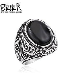 BEIER Jewelry ring リング 指輪 大きなオニキス 宝石 かっこいい 個性的 クール ゴシック レトロ アンティーク風 メンズ レディース 大きなオニキス (14)